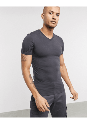 ASOS DESIGN muscle fit t-shirt with deep v neck in washed black-Grey
