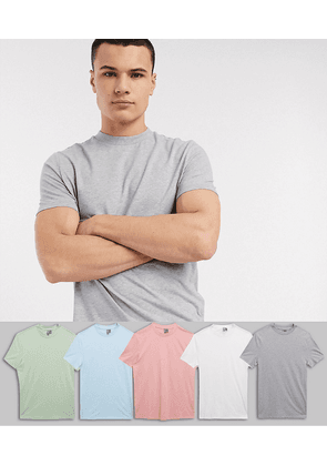 ASOS DESIGN 5 pack t-shirt with crew neck save-Multi