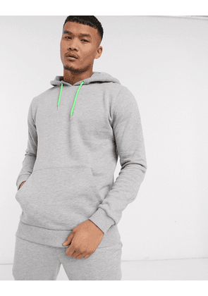 ASOS DESIGN hoodie in grey marl with neon green drawcords