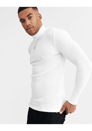 ASOS DESIGN muscle fit waffle roll neck in white