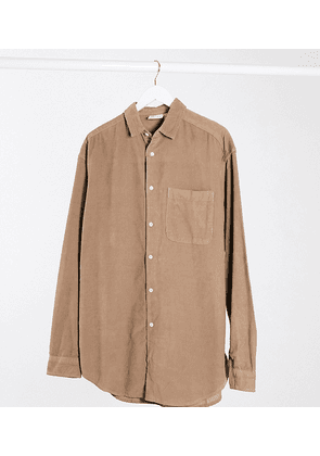 ASOS DESIGN Tall oversized cord shirt in taupe-Brown