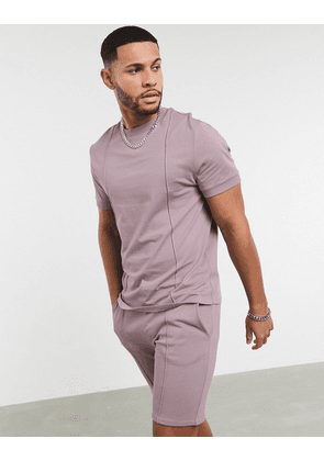 ASOS DESIGN co-ord t-shirt with pin tucks in purple