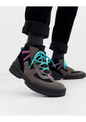 ASOS DESIGN hiker lace up boots in grey multi