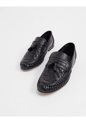 ASOS DESIGN loafers in woven black leather with tassel detail