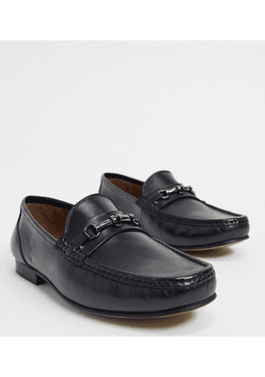 ASOS DESIGN Wide Fit loafers in black leather