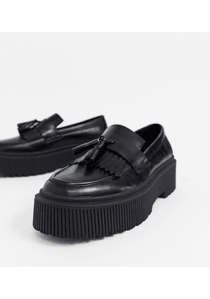 ASOS DESIGN Wide Fit loafers in black faux leather with chunky sole and tassel