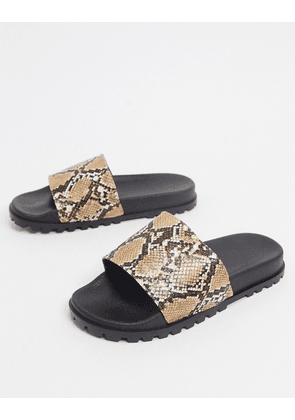 ASOS DESIGN sliders with cleated sole and snake strap-Stone