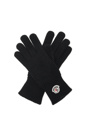 Moncler - Logo-patch Rib-knitted Wool Gloves - Mens - Black