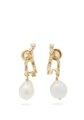 Givenchy - Crystal-embellished Baroque-pearl Drop Earrings - Womens - Gold