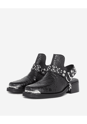 The Kooples - Black leather mules w/removable west detail - WOMEN