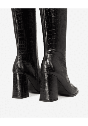 The Kooples - Black heeled boots in croc-effect leather - WOMEN