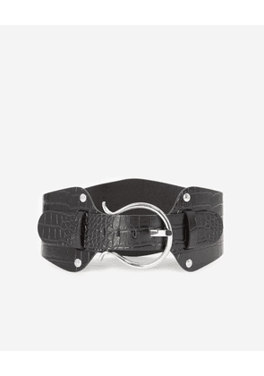 The Kooples - Black large leather belt with silver buckle - WOMEN