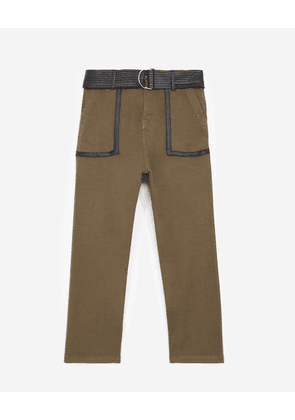The Kooples - Khaki military trousers with leather belt - WOMEN