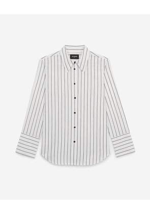 The Kooples - White cotton shirt with black stripes - WOMEN