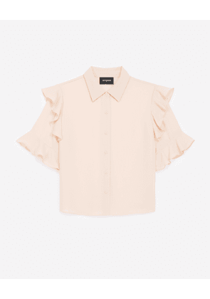 The Kooples - Frilly short-sleeved flowing light pink shirt - WOMEN