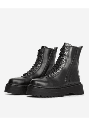 The Kooples - Lace-up leather flat black boots - WOMEN
