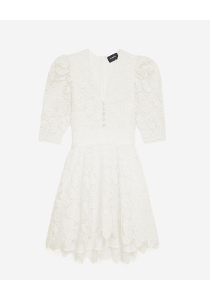 The Kooples - Ecru short lace dress with frills - WOMEN