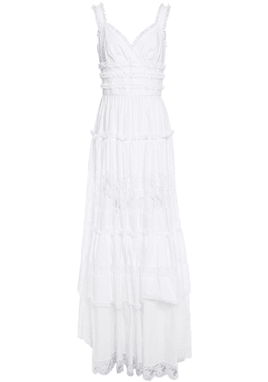 Dolce & Gabbana Tiered Ruffled Lace-trimmed Cotton-blend Poplin Maxi Dress Woman White Size 44