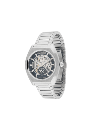 Roberto Cavalli Skeleton 42mm watch - SILVER