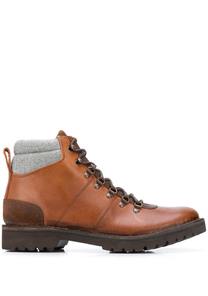 Eleventy lace-up leather boots - Brown
