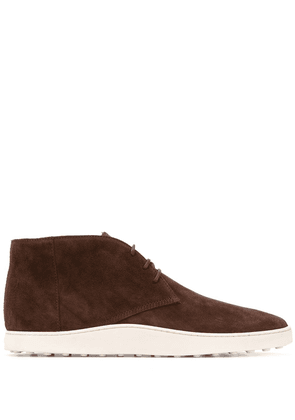 Tod's lace-up calf suede boots - Brown