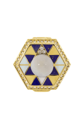 HARWELL GODFREY 18kt yellow gold diamond pearl poison ring - YLWGOLD