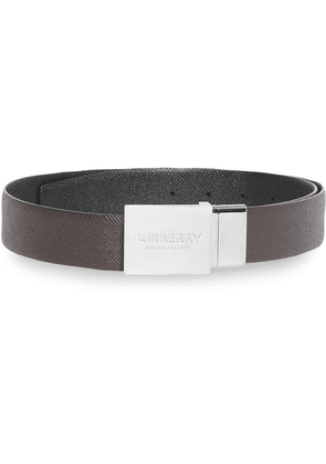 Burberry Reversible Plaque Buckle Grainy Leather Belt - Brown