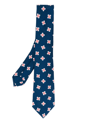 Kiton all-over floral tie - Blue
