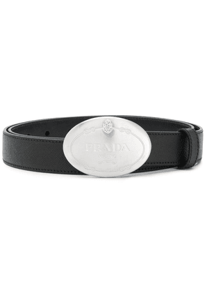 Prada saffiano logo buckle belt - Black