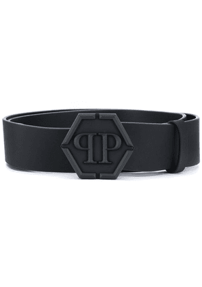 Philipp Plein logo buckle leather belt - Black