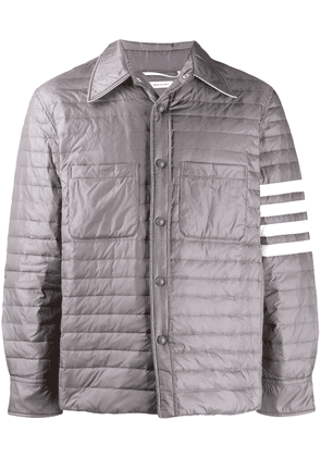 Thom Browne quilt down Fill 4 Bar shirt jacket - Grey