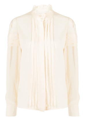 See by Chloé long sleeve pleated bib blouse - NEUTRALS