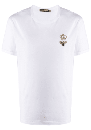 Dolce & Gabbana bee crown embroidered T-shirt - White