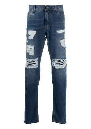 Dolce & Gabbana distressed straight-leg jeans - Blue