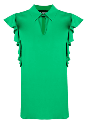 Boutique Moschino ruffled sleeve collared blouse - Green