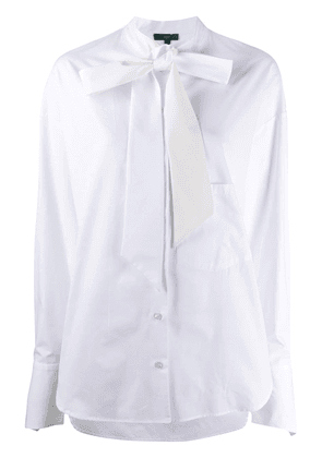 Jejia pussy-bow long sleeve silk blouse - White