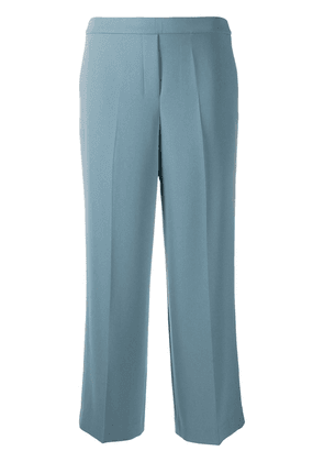 Theory pleat detail wide-leg cropped trousers - Blue