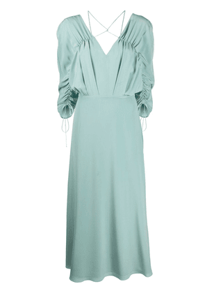 Victoria Beckham draped-sleeve drawstring midi dress - Green