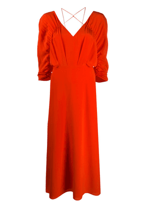 Victoria Beckham draped-sleeve drawstring midi dress - ORANGE