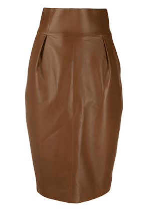 Alexandre Vauthier high-waisted leather pencil skirt - Brown