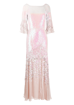 Temperley London Celestial iridescent sequin-embellished gown - PINK