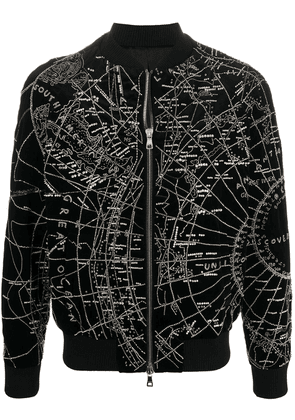 Balmain map embroidery bomber jacket - Black