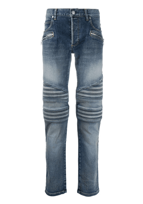 Balmain monogram detail slim-fit jeans - Blue
