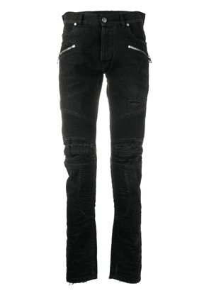 Balmain monogram detail slim-fit jeans - Black