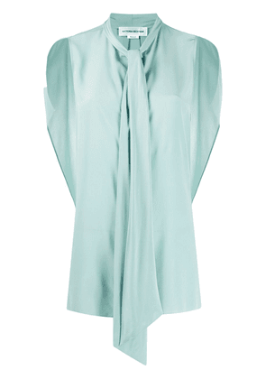 Victoria Beckham draped pussy-bow blouse - Blue