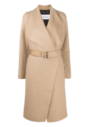 Calvin Klein belted double-breasted coat - NEUTRALS