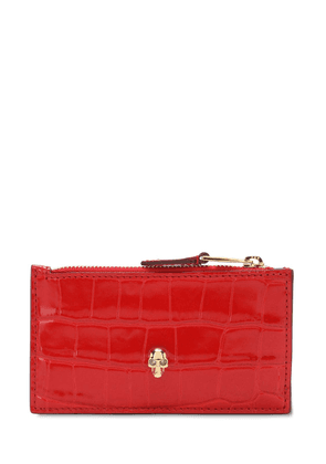 Croc Embossed Leather Chain Wallet