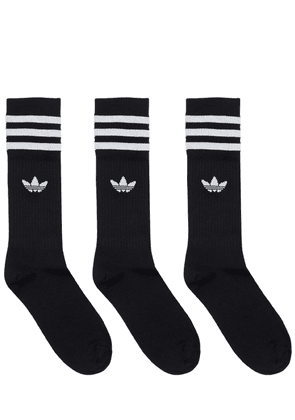 Pack Of 3 Solid Crew Socks
