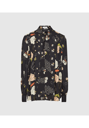 Reiss Abril - Floral Print Blouse in Black Print, Womens, Size 6