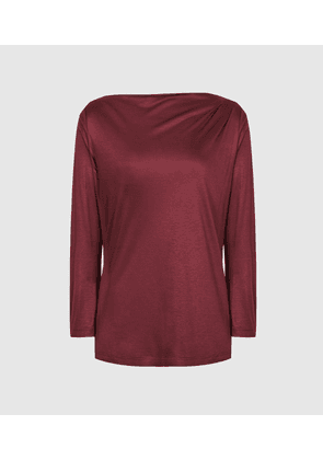 Reiss Faye - Straight Neck Top in Berry, Womens, Size XS